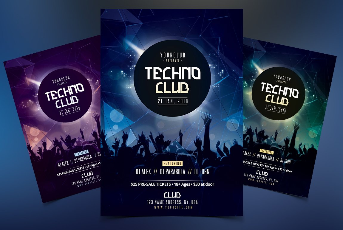 techno club psd flyer flyer templates creative market