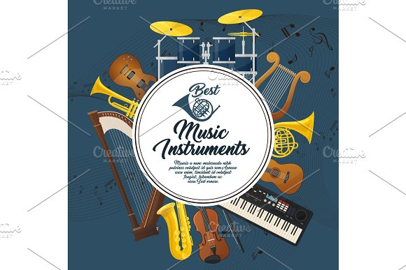 Sound Equipment And Music Instruments With Notes
