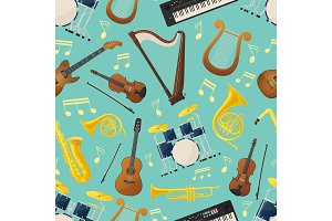 Seamless pattern with music guitar and drum kit