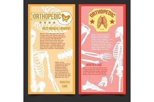 Medical orthopedic posters with human bones