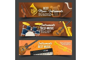 Set of isolated badges for music instruments