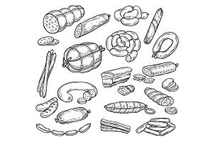 Sketches of sausage and wurst, meat products