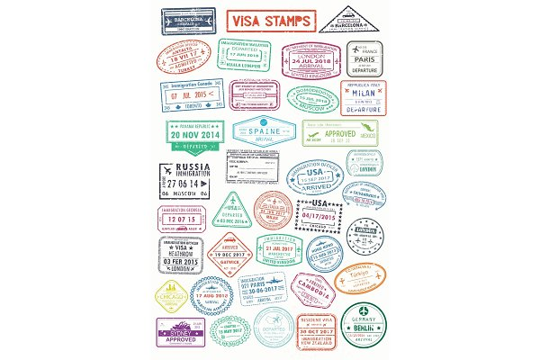 Passport stamps or visa pages for t…