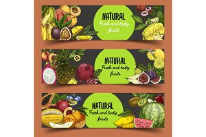 Signs and banner with tropical or exotic fruits