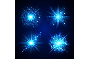 Set of blue flash stars