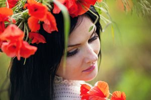 girl in a wreath of poppies