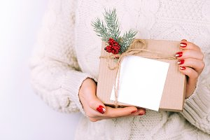 Woman's hands with christmas gift box