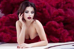 Beauty Brunette model woman in  even
