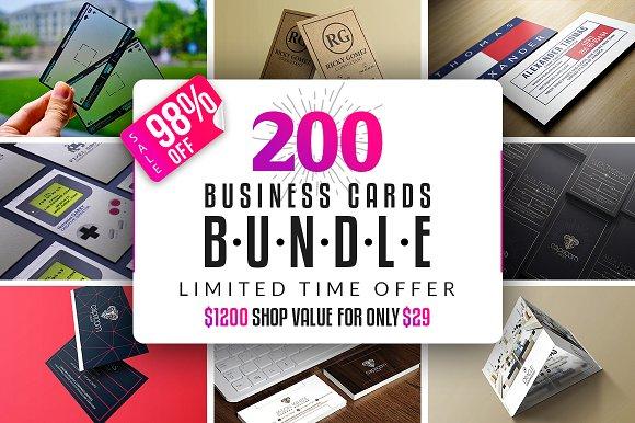200 business cards bundle business card templates creative market colourmoves