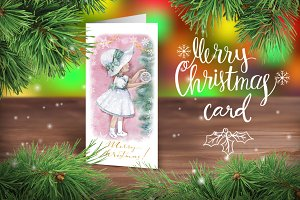 Watercolor Christmas card with girl