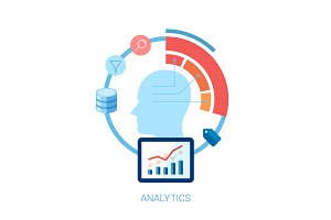 Flat icon for analytic, database