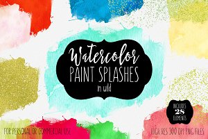 Watercolor Paint Splatters Rainbow