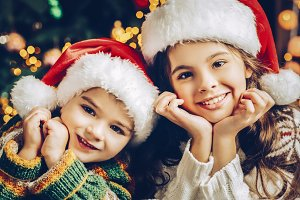Christmas couple kids portrait.
