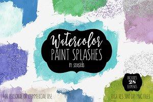 Seaside Watercolor Paint Splatters