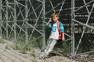 Schoolchild with a cell phone