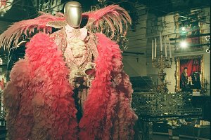 Pink Rhinestone & Feathered Suit
