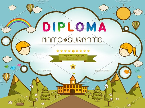 certificate kids diploma card templates creative market certificate kids diploma cards