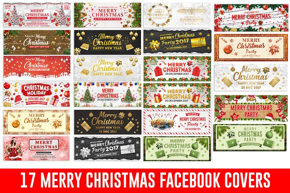 Merry Christmas Facebook Covers ~ Facebook Templates ~ Creative Market