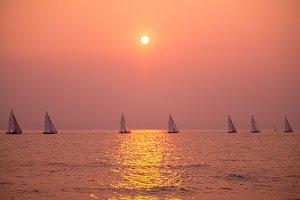 Sailboat Race Sunset