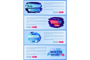 Sale Winter Discount Set on Vector Illustration