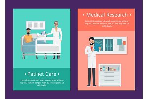 Patient Care &Medical Research Vector Illustration