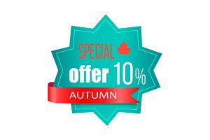 Special Offer 10% Autumn on Vector Illustration