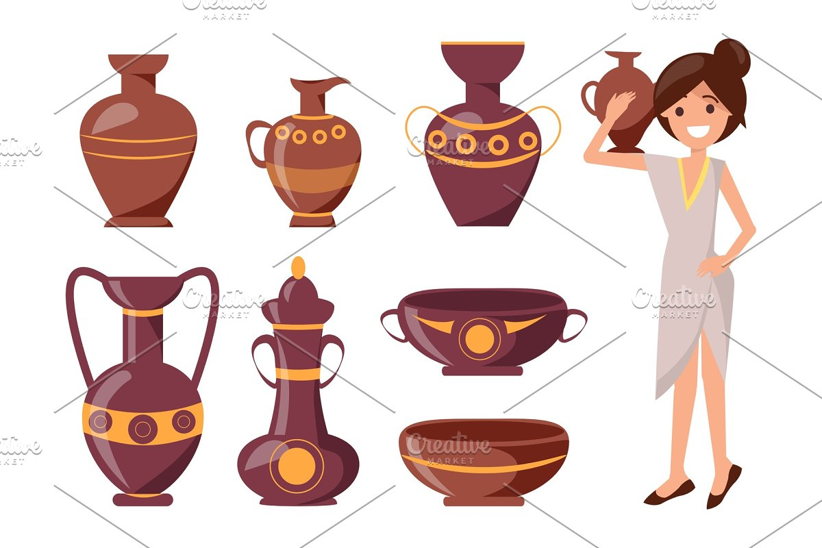 Woman Posing with Clay Vase Vector Illustration