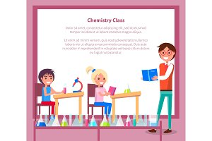 Chemistry Class Banner with Teacher, Students Sitting