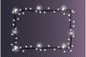 Rectangular Frame Made Christmas Lights Sparkling