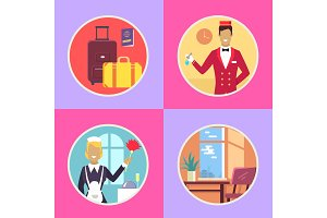 Hotel Conveniences Round Cartoon Illustrations Set