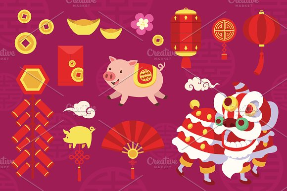 2019 Chinese New Year Vector Set Illustrations Creative Market