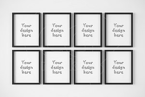 "Set of 8 black frames 8x10"" mockup"