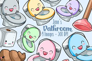 Kawaii Bathroom Clipart