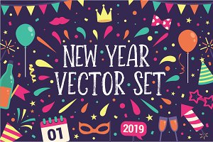 2019 New Year Celebration Vector Set