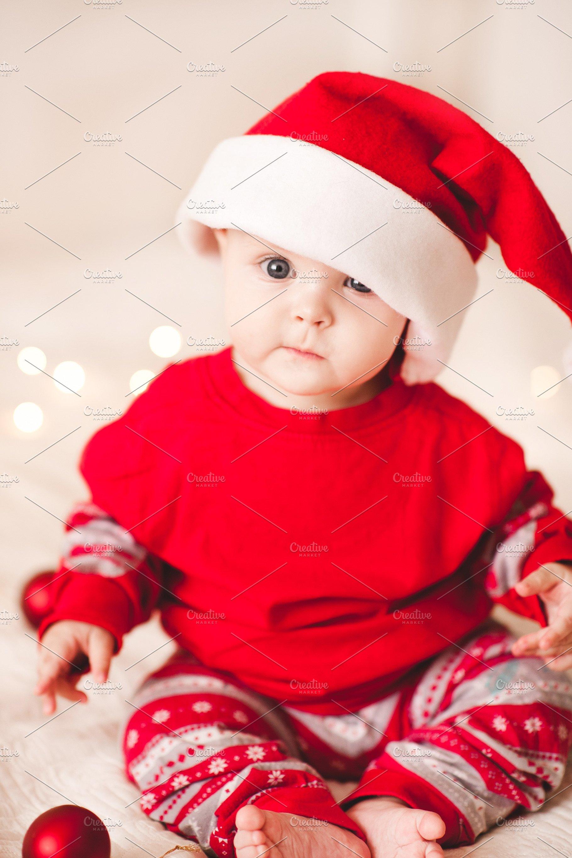 99b3fb922 Baby in santa suit ~ Holiday Photos ~ Creative Market