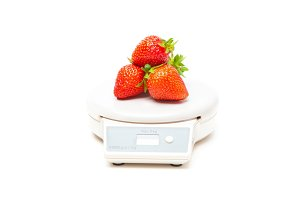 White Kitchen Scale With Strawberries