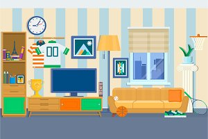 Living room with furniture. Cozy interior with sofa and tv. Home Modern Apartment Design Flat style Vector Illustration