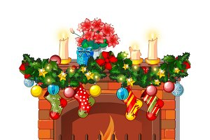 Fireplace and decorations