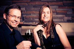 Adult Couple Having A Glass Of Wine