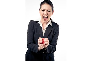 Businesswoman Squeezing Stress Ball