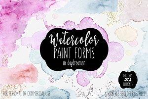 Watercolor Paint Forms Blobs & Edges