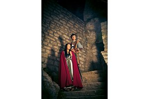 Couple in Medieval Style Clothing