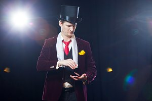 Magician, Juggler man, Funny person, Black magic, Illusion Man showing tricks with cards