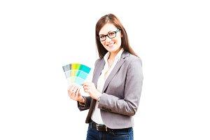 Female Interior Designer With Color Swatches