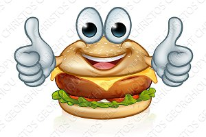 Burger Food Cartoon Character Mascot