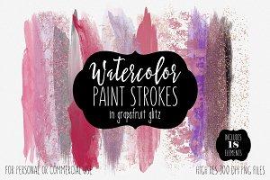 Grapefruit Watercolor Brush Strokes