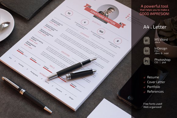 clean and simple resume cv set resume templates creative market