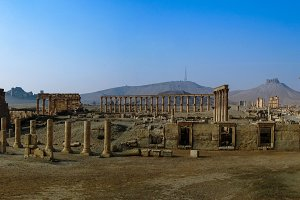 Panorama Palmyra columns and ancient city, destroyed by ISIS, Syria