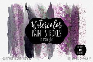 Moonlight Watercolor Brush Strokes
