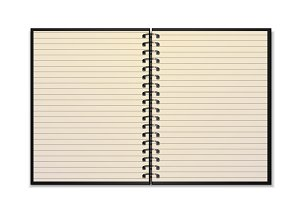 Open realistic spiral notepad mockup